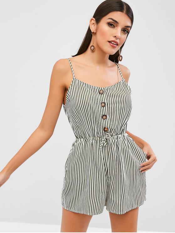 womens Waist Drawstring Stripe Romper - MULTI M