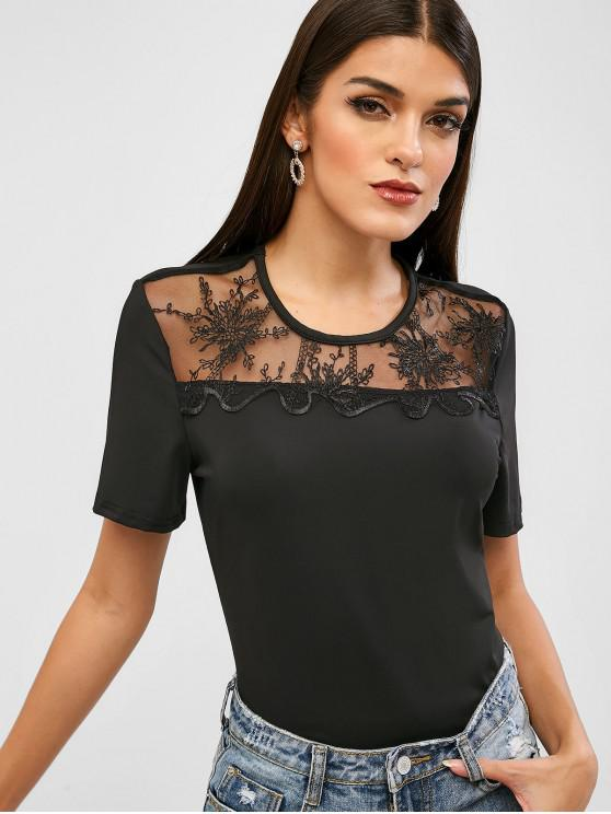 unique Short Sleeve Lace Panel Tee - BLACK S