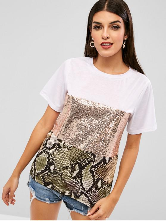 chic Contrast Sequined Snake Print Tee - WHITE M