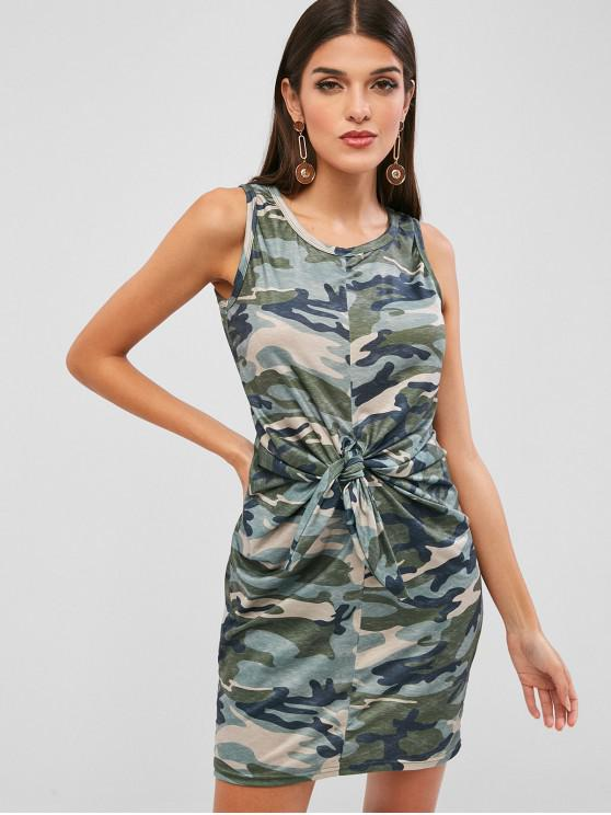 trendy Tie Front Camouflage Sleeveless Dress - ACU CAMOUFLAGE M