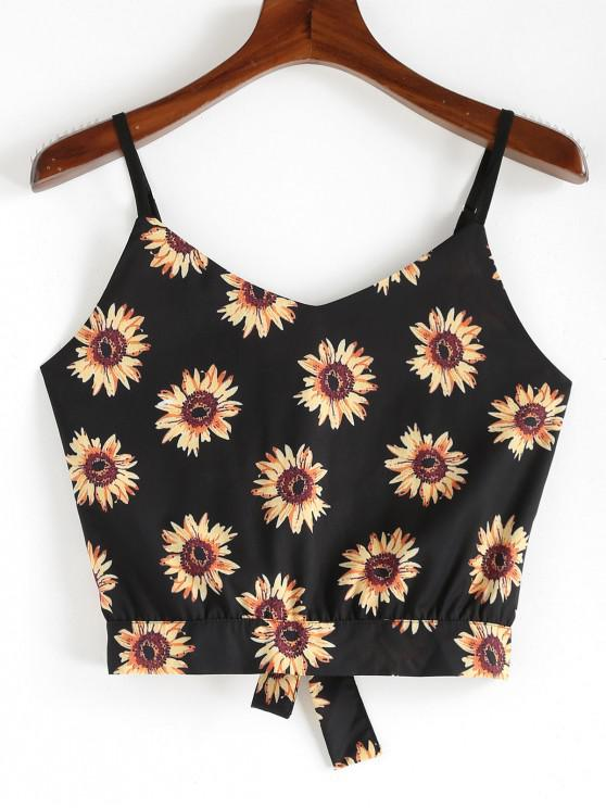 women ZAFUL Sunflower Knotted Cami Top - BLACK S