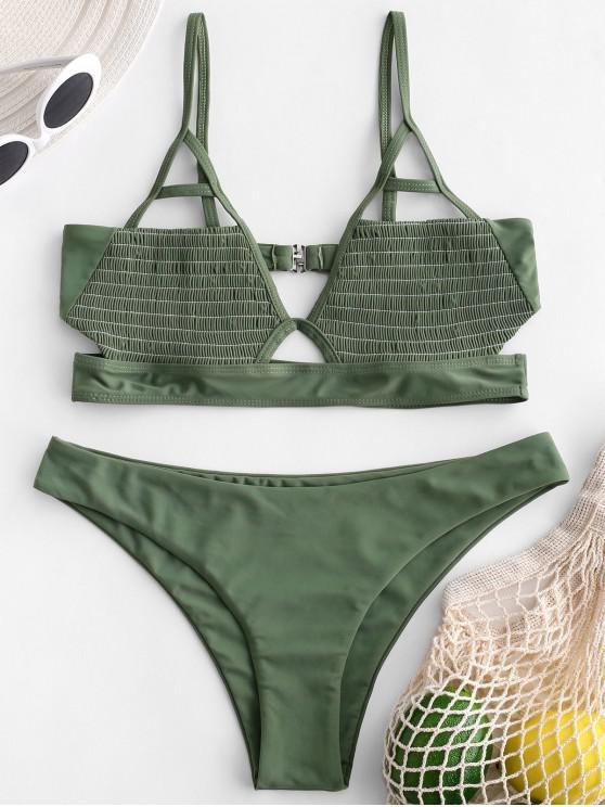 best ZAFUL Smocked Bralette Cut Out Bikini Set - CAMOUFLAGE GREEN S