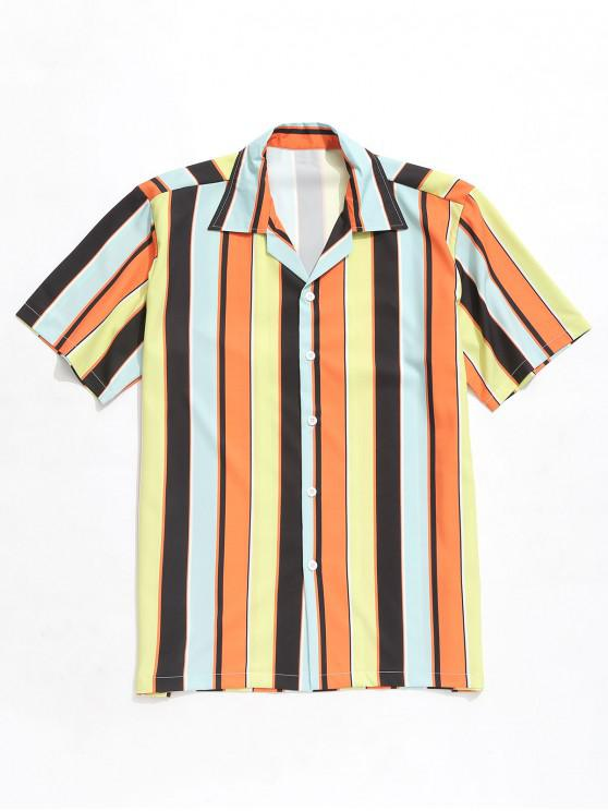 latest Color Block Striped Print Short Sleeves Shirt - MULTI L