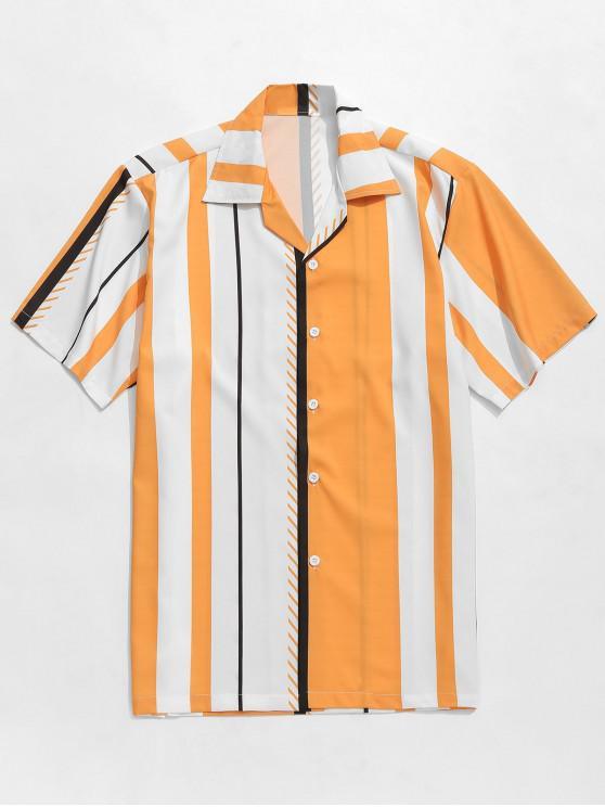 unique Striped Print Color Block Casual Shirt - MULTI L