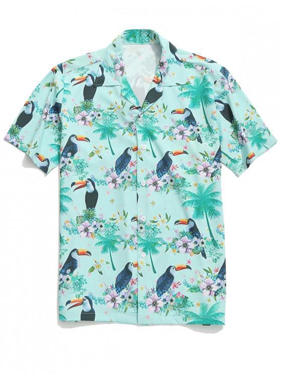 outfit Toucan Flowers Plant Print Beach Shirt - MULTI 2XL