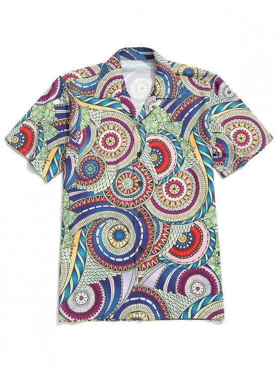 women Colorful Detailed Pattern Design Casual Shirt - MULTI M