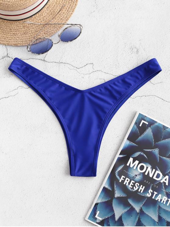 shop ZAFUL Cheeky High Leg Bikini Bottoms - BLUEBERRY BLUE M