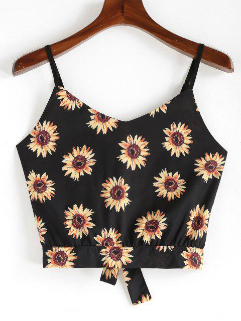 women ZAFUL Sunflower Knotted Cami Top - BLACK S Mobile