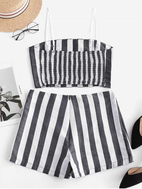 new ZAFUL Smocked Crop Top and Buttons Shorts Set - DARK GRAY S Mobile