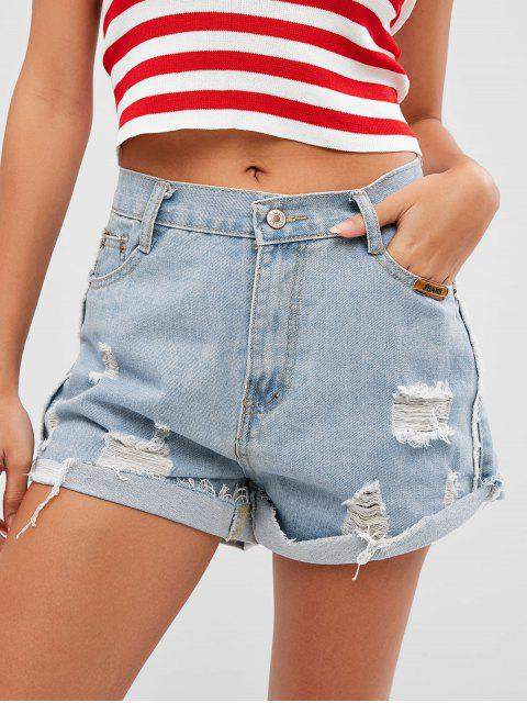 lady Zipper Fly Ripped Cuffed Denim Shorts - DENIM BLUE XL Mobile