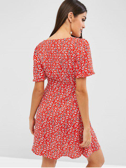 hot ZAFUL Knotted Printed A Line Mini Dress - RUBY RED L Mobile
