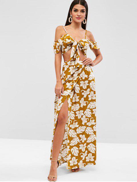 trendy ZAFUL Floral Tie Front Cold Shoulder Overlap Skirt Set - GOLDENROD M Mobile