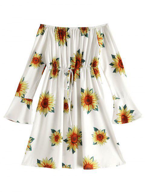 Vestido acampanado con estampado floral en el hombro - Vara de Oro L Mobile