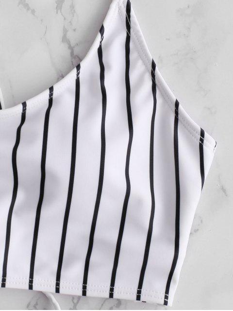 ZAFUL Striped Lace Up Set de Tankini de cintura alta - Multicolor-A L Mobile