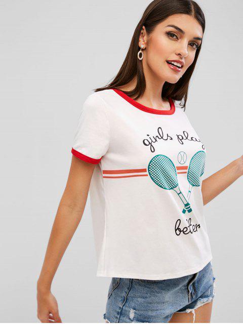Camiseta para mujer de tenis - Blanco XL Mobile