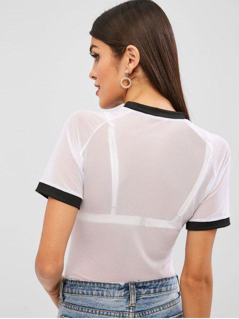 Camiseta con mangas ringer de malla de mangas ragan - Blanco S Mobile