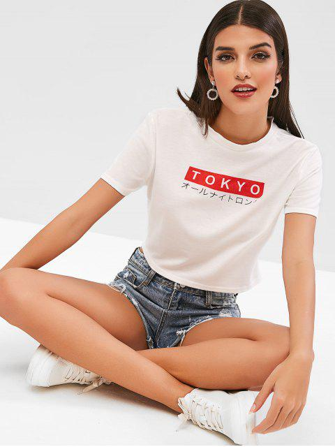 Camiseta estampada con gráfico de Tokio - Blanco M Mobile