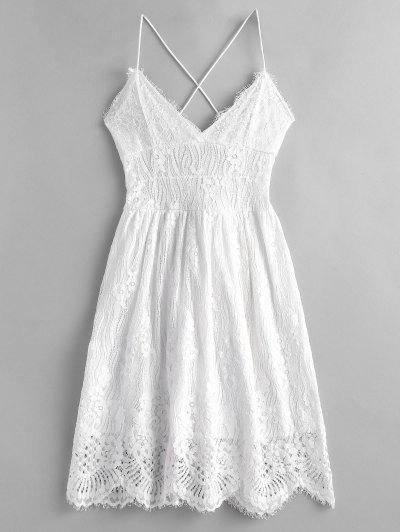 7f1048f90 Lace Criss Cross Cami Dress - White L ...