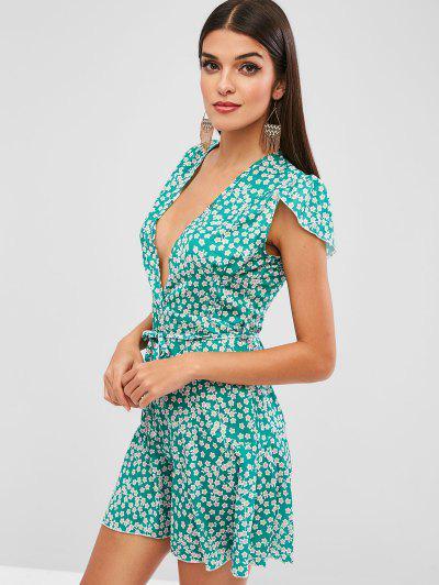 028b6c0568 ... Mini Vestido Floral Com Cinto Com Zíper - Verde L