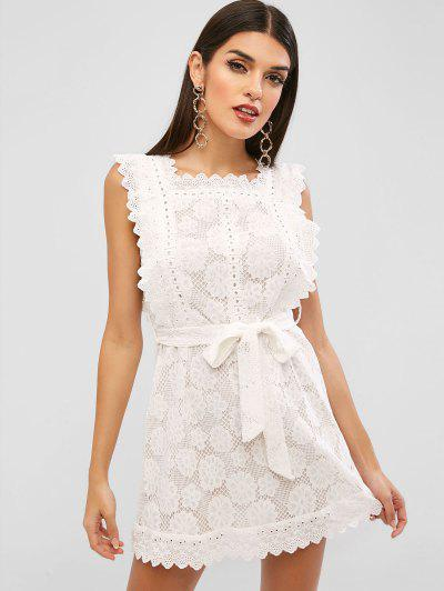 Belted Scalloped Mini Lace Dress - White S