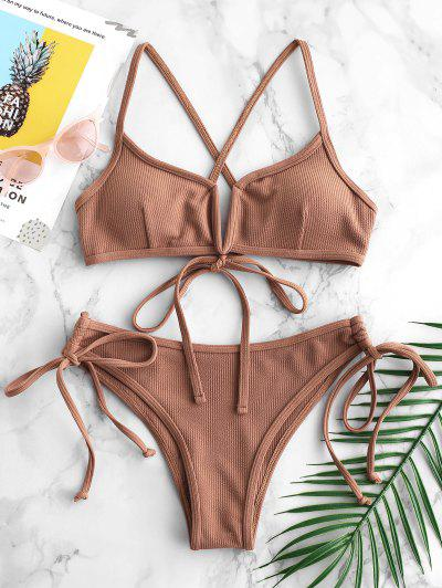 ZAFUL Ribbed V Wired Criss Cross Bikini Set - Light Brown M