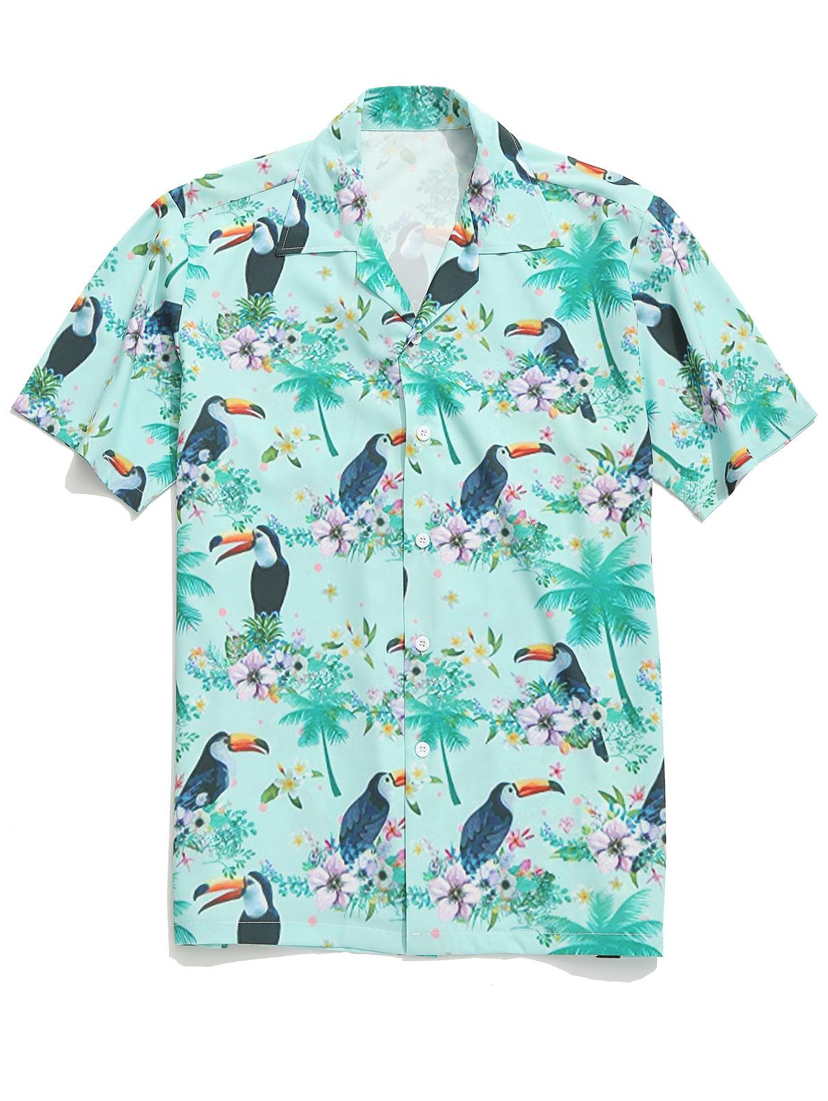 Toucan Flowers Plant Print Beach Shirt, Multi