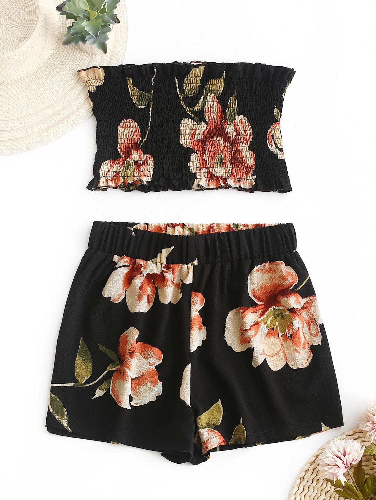 ZAFUL Smocked Floral Bandeau Top And Shorts Set, Black