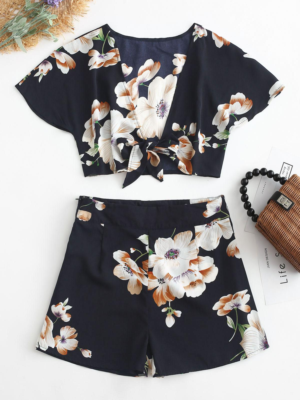 Blue Tie Front Crop Top and Shorts