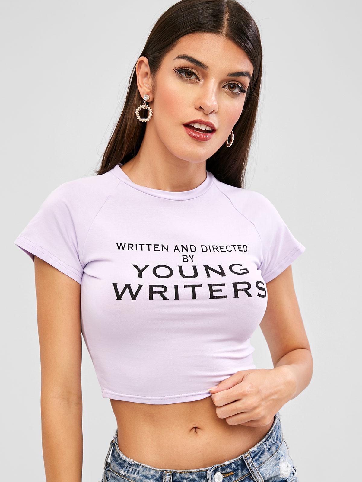 Raglan Sleeves Letter Graphic Crop Tee, Lavender blue