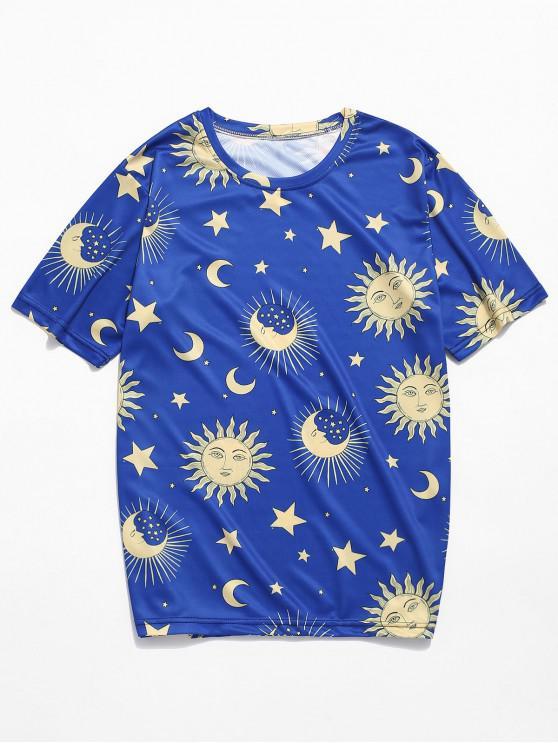Sonnen -Mond- Sternmuster- T-Shirt mit Kurzen Ärmeln - Blau L