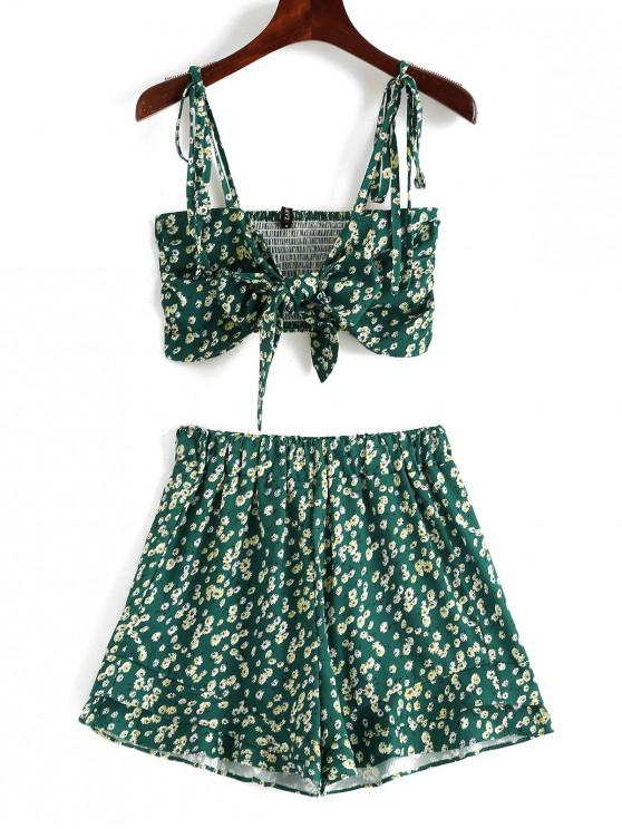 affordable ZAFUL Floral Knot Cami Top and Shorts Set - GREENISH BLUE S