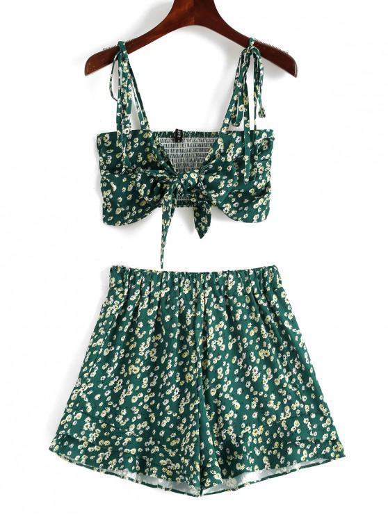 ZAFUL Floral Knot Cami Top e Shorts Set - Blu Verdastro S