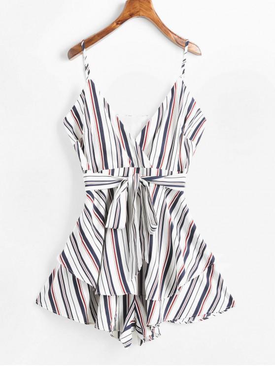 shop ZAFUL Striped Overlay Wide Leg Romper - WHITE S