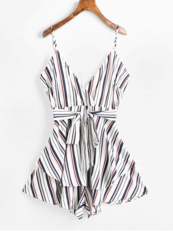 hot ZAFUL Striped Overlay Wide Leg Romper - WHITE L