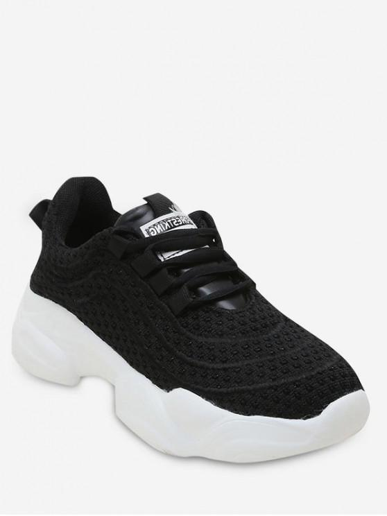 ladies Breathable Knit Mesh Platform Sneakers - BLACK EU 35