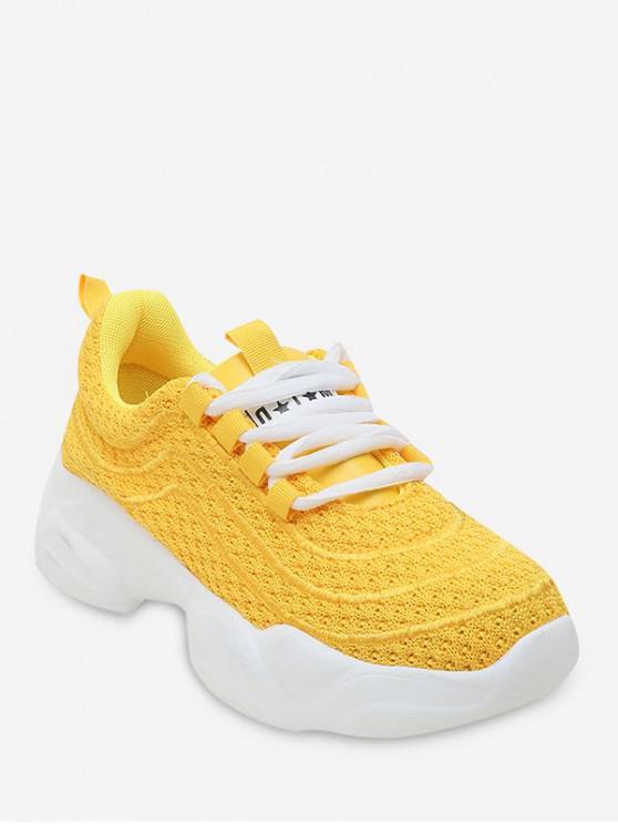 fashion Breathable Knit Mesh Platform Sneakers - YELLOW EU 39