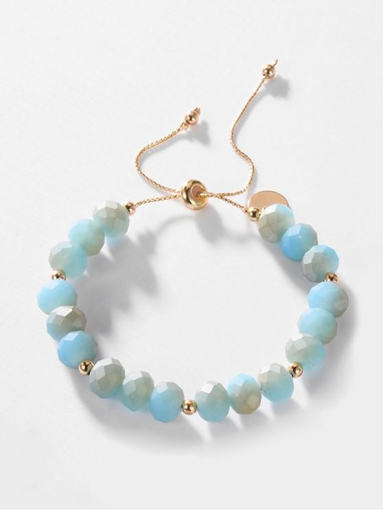 fancy Faux Crystal Adjustable Beaded Bracelet - DEEP SKY BLUE