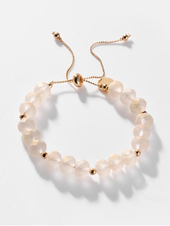 women's Faux Crystal Adjustable Beaded Bracelet - CHAMPAGNE