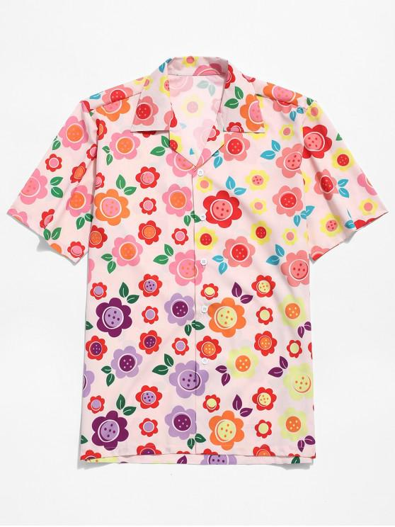 affordable Flower Allover Print Button Shirt - MULTI M