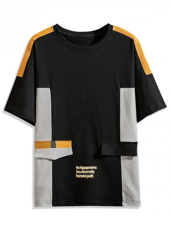 buy Drop Shoulder Color Block Panel T-shirt - BLACK L
