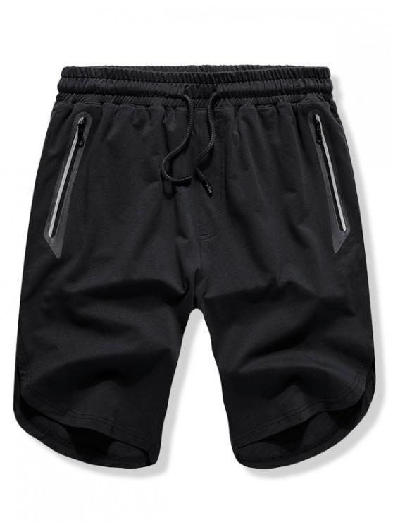 Повседневные шорты сплошного цвета с боковыми разрезами - Чёрный M