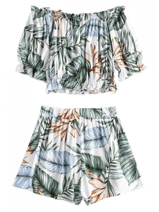 outfit ZAFUL Off Shoulder Leaves Top And Shorts Set - MULTI L