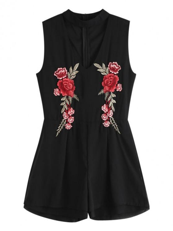 unique Floral Embroidered Patched Choker Romper - BLACK XL