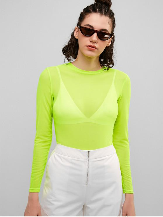 ladies ZAFUL Mesh Sheer Top - GREEN YELLOW M