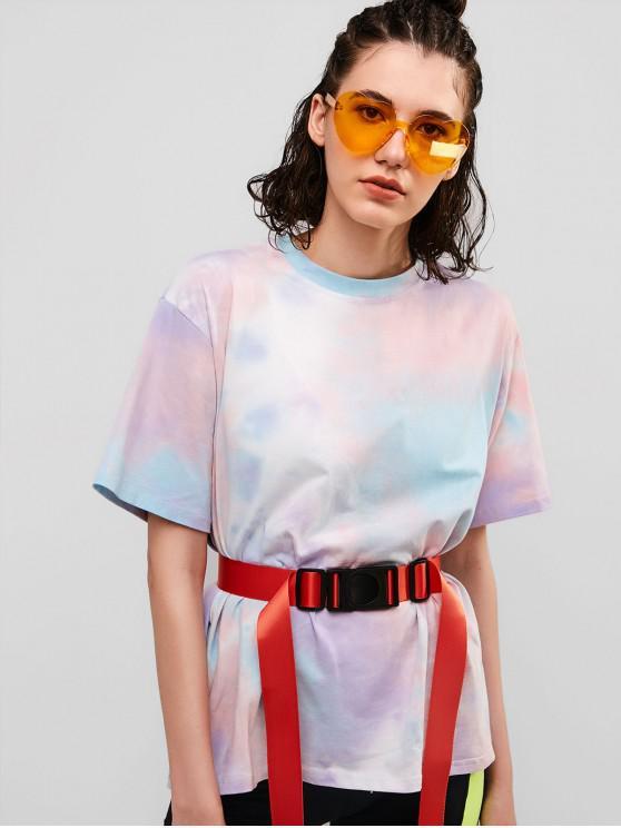 trendy Tie Dye Drop Shoulder Boyfriend Tee - MULTI XL