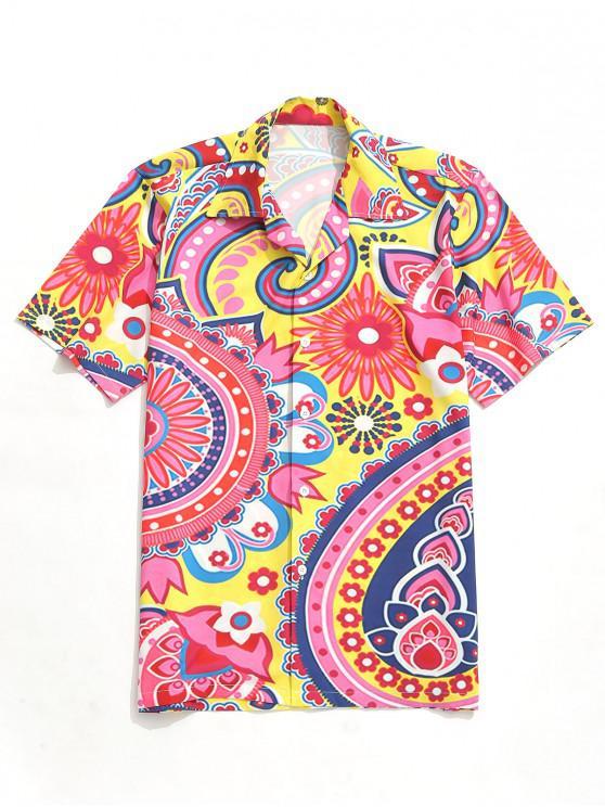 lady Flower Paisley Print Short Sleeves Shirt - MULTI M