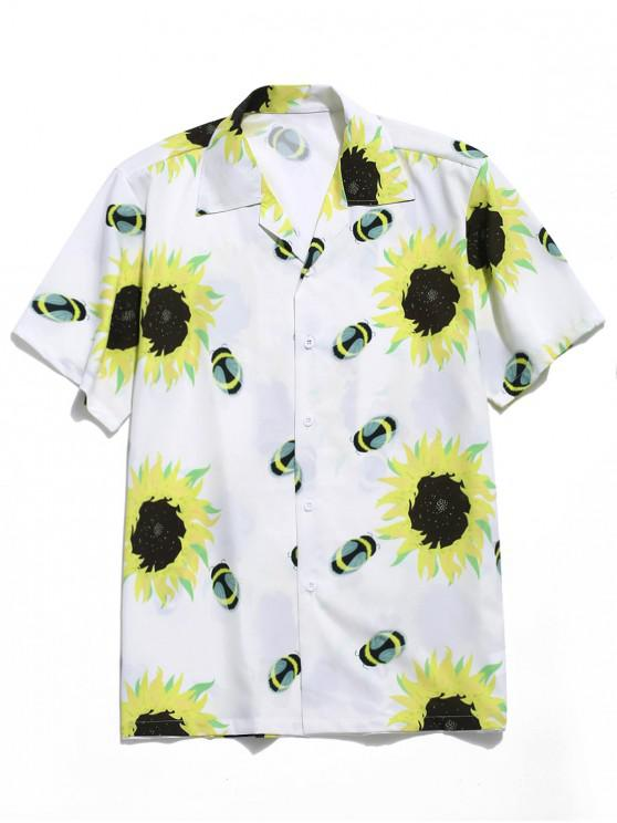 hot Bee Sunflower Print Short Sleeves Shirt - MULTI S