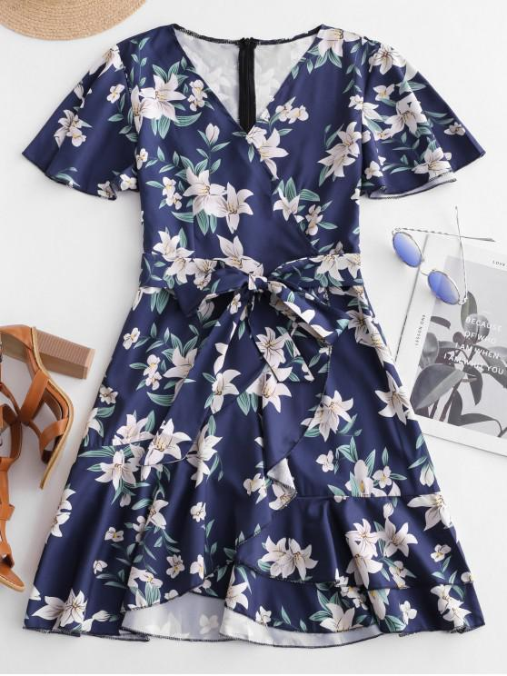 fashion Ruffles Belted Floral A Line Dress - BLUE M