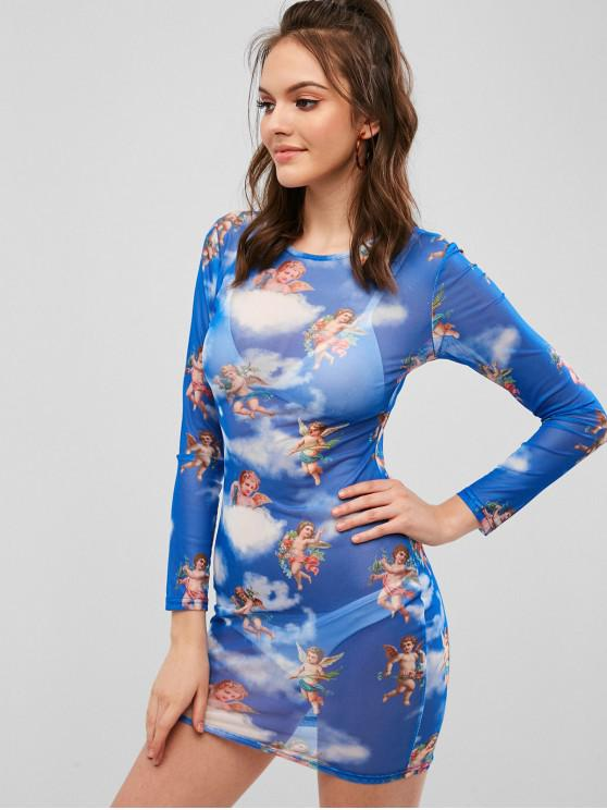 shop See Thru Angel Print Bodycon Dress - OCEAN BLUE M