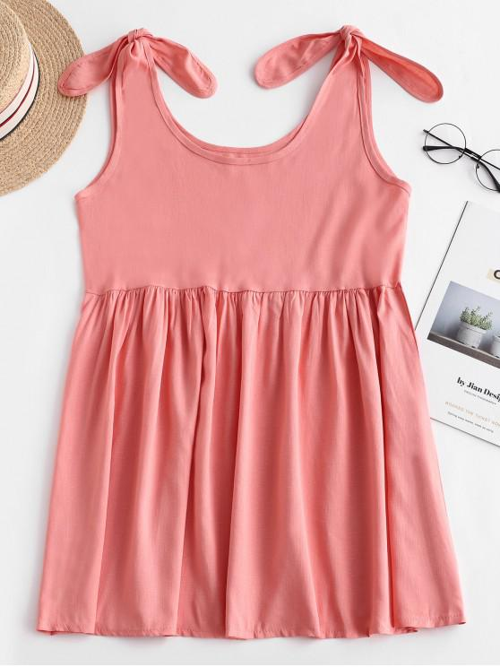 best Casual Tied Straps Sleeveless Mini Dress - ORANGE PINK S